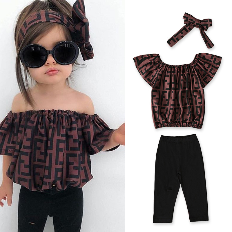 2020 Baby Girl Clothes Summer Tracksuit For Children Clothing Girls Sets T-shirt+Broken Hole Jeans Kids Clothes 1 2 3 4 5 6 Year 1