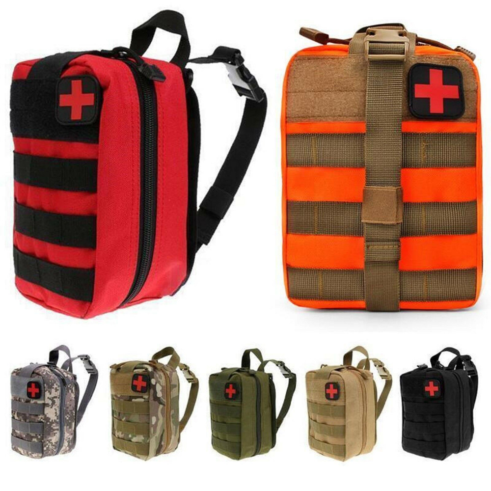 Gaoominy Outdoor First Aid Kit Sports Camping Bag Home Medical Emergency Survival Package Red Nylon Striking Cross Symbol Crossbody Bag