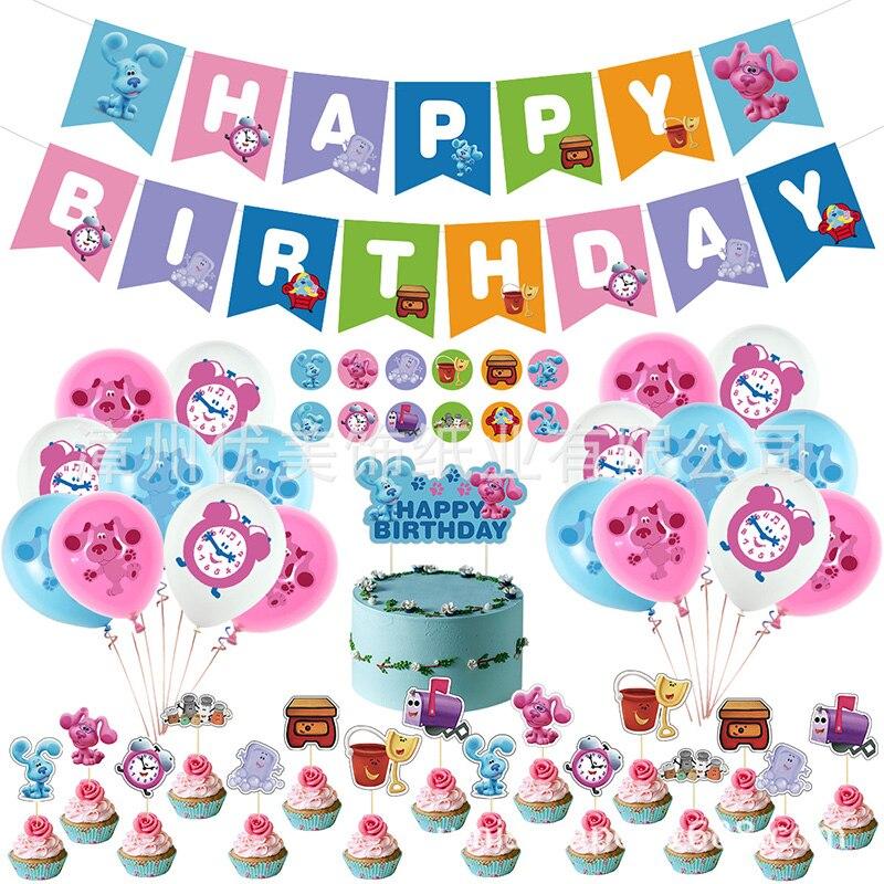 48 шт./компл. синие Подвески воздушные шары с рисунком голубой розовый собака торт баннер на день рождения Baby Shower товары для дня рождения Деко...