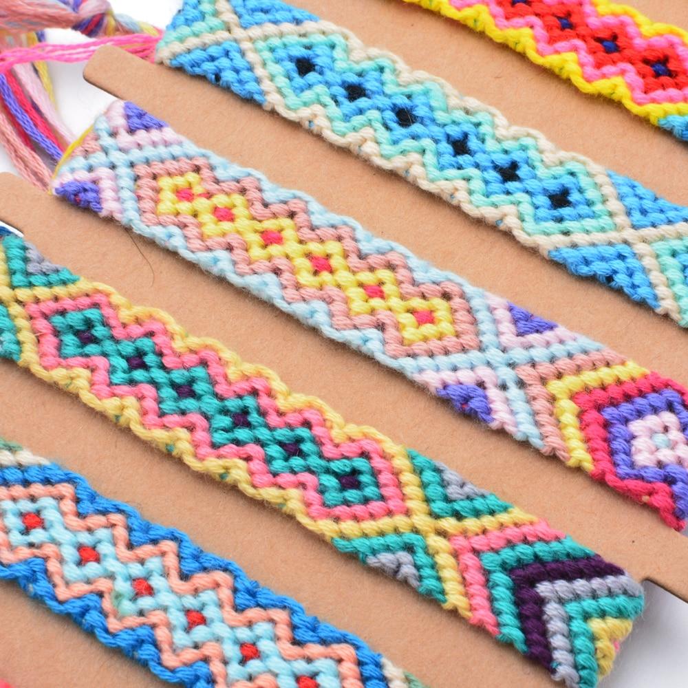 12pcs/lot Ethnic Colorful Braided Bracelets Bangles Handmade Adjustable Weave Rope Wide Chain Bracelet For Women Men Jewelry