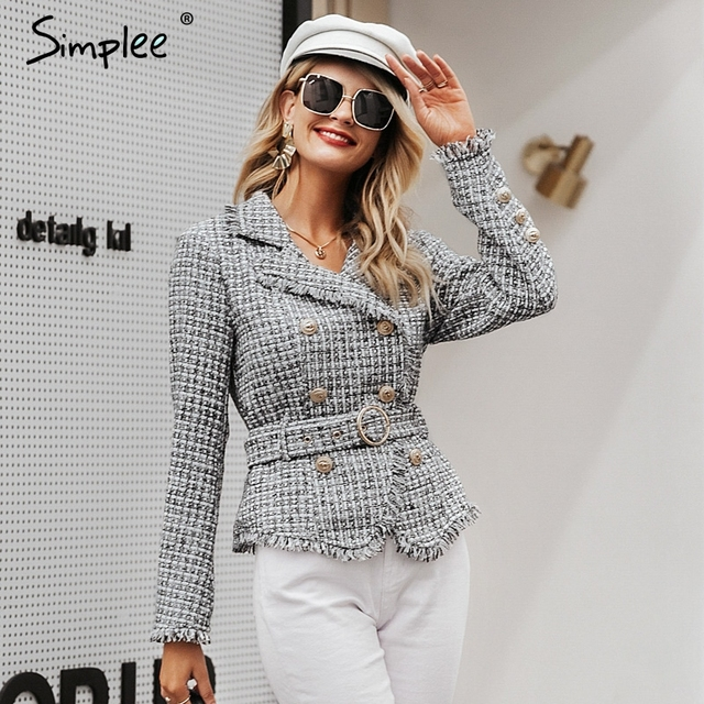 Simplee Plaid frayed edge tweed jacket coat Women v-neck double breasted button belt ladies coat Long sleeve outwear blazer coat