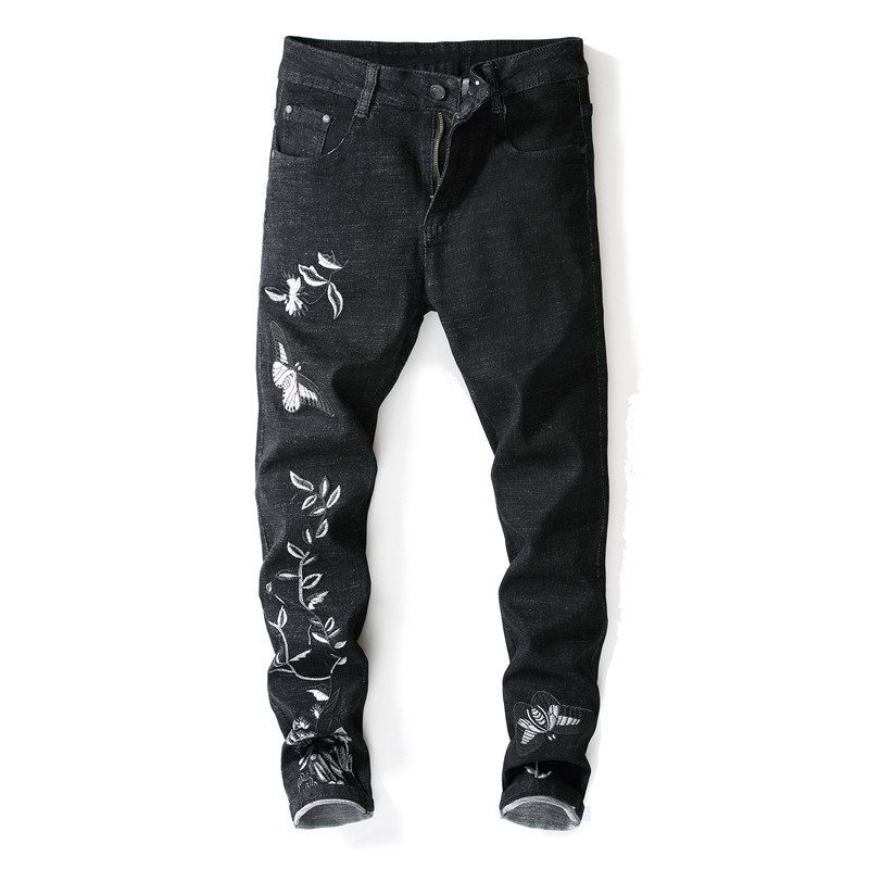 New Style Black Jeans Men Embroidery Skinny Pants Elasticity Slim Fit Embroidered Trousers Men's Korean-style Men's Trousers 150
