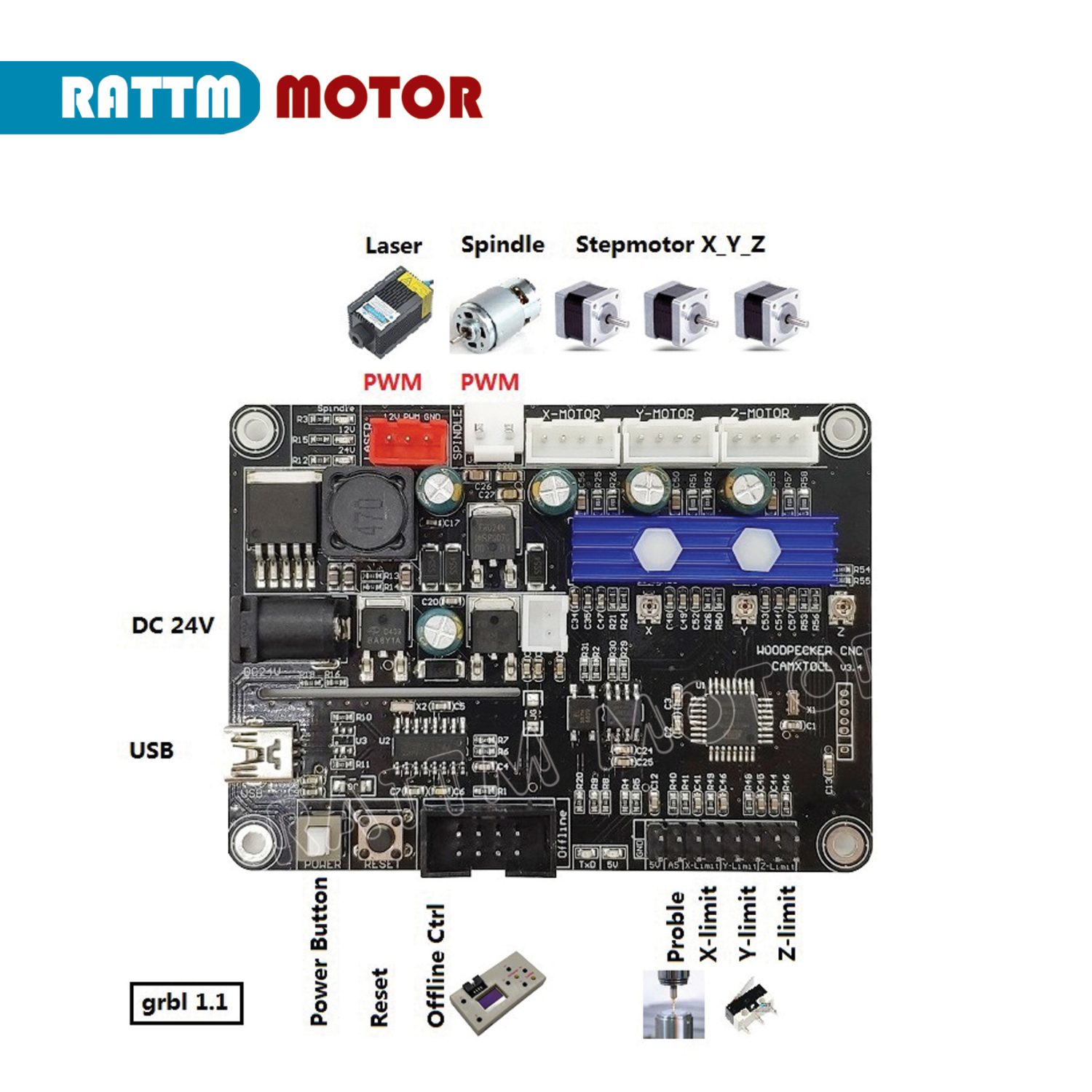 3 Axis GRBL 1.1f USB Port <font><b>CNC</b></font> <font><b>Router</b></font> Engraving Machine Controller Board <font><b>2418</b></font> 3018 <font><b>CNC</b></font> <font><b>Router</b></font> control card support laser image