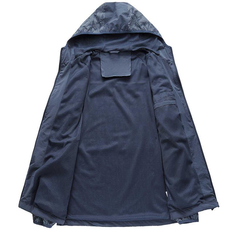 Plus Size Nuovi Uomini di Quick Dry Pelle Giubbotti Cappotti da Uomo Ultra-Light Casual Giacca a Vento Impermeabile Antivento Abbigliamento di Marca
