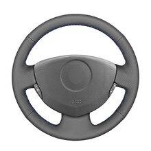 Preto PU Couro Artificial Cobertura de Volante de Carro para Renault Twingo Clio 2 2 Dacia Sandero 2001 2002 2003 2004 2005-2014