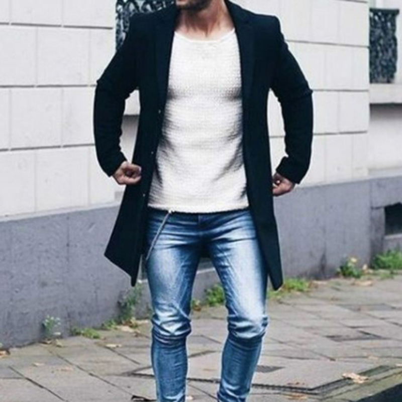 Men Solid Color Long Sleeve Coat Outwear Autumn Winter New Pocket Lapel Business Casual Button Fashion New Arriving