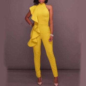 Elegant Women Long Coveralls Party Evening Jumpsuits Large Sizes Halter Sexy yellow 2020 Summer Ruffles Fashion Jumpsuit