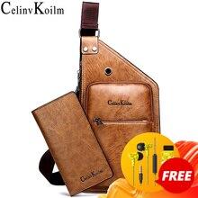 Celinv Koilm ünlü marka erkek tek kollu çanta deri erkek göğüs çanta moda basit seyahat Crossbody çanta genç adam için askılı çanta