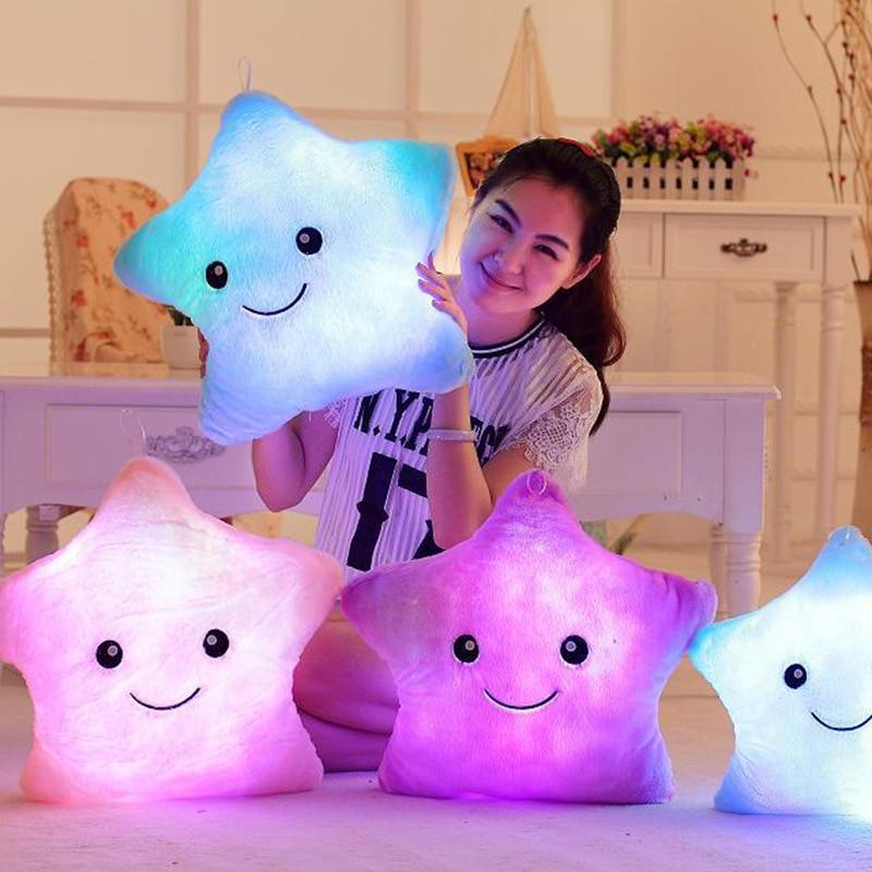 34CM jouet créatif oreiller lumineux doux en peluche en peluche brillant étoiles colorées coussin lumière Led jouets cadeau pour enfants enfants filles