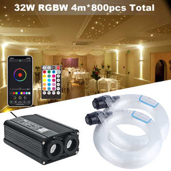 Fiber Optic Light Double Lights Source 32W RGBW Engine Light RF Remote Control 800pcs 4M Cable Starry Effect Ceiling Lighting