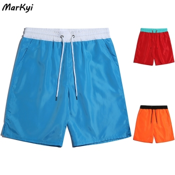 MarKyi  Drawstring Shorts Men Casual Beach Summer Elastic Waist Shorts Men Cotton Plus Size Male Short Hot men embroidery detail drawstring waist shorts