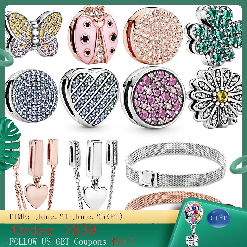 100% 925 Sterling Silver Timeless Sparkling Clip Charms ,fit Original 3mm Reflexions Bracelet Making Fashion DIY Jewelry