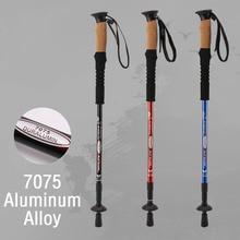 Canes Sawdust-Handle Trekking Hiking-Poles Ultralight Telescopic Aluminum-Alloy 2PCS