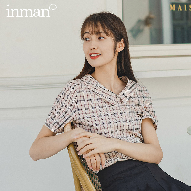 INMAN Summer New Arrival Turn Down Collar Artsy Vintage Plaid Pattern Student Girl Cotton Blouse