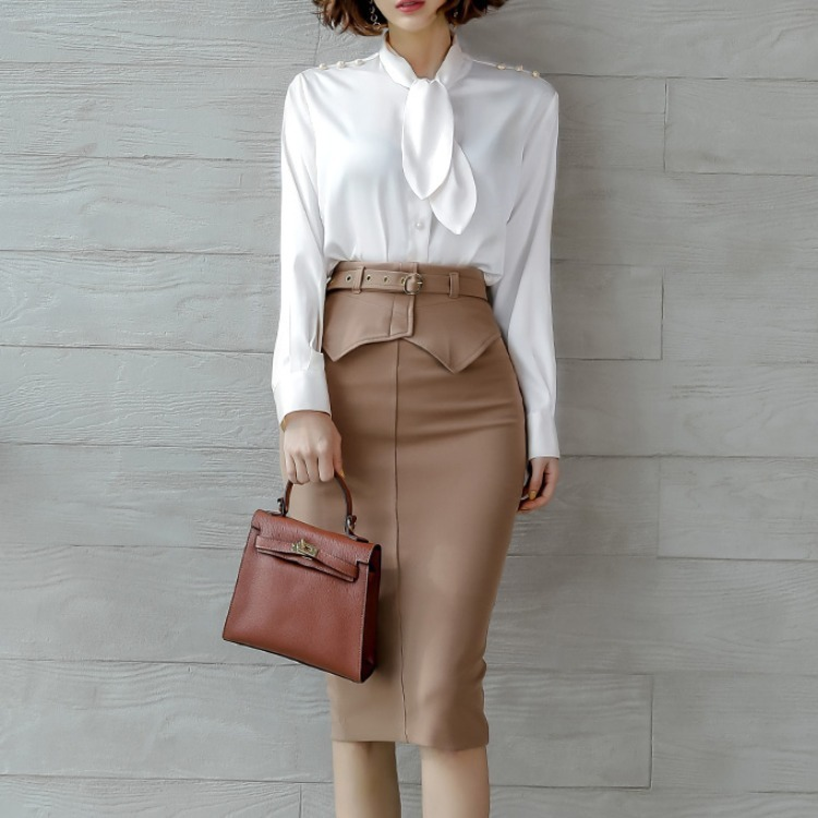 women's temperament of two-piece han edition cultivate morality bowknot shirt jacket + pockets hip skirt suits