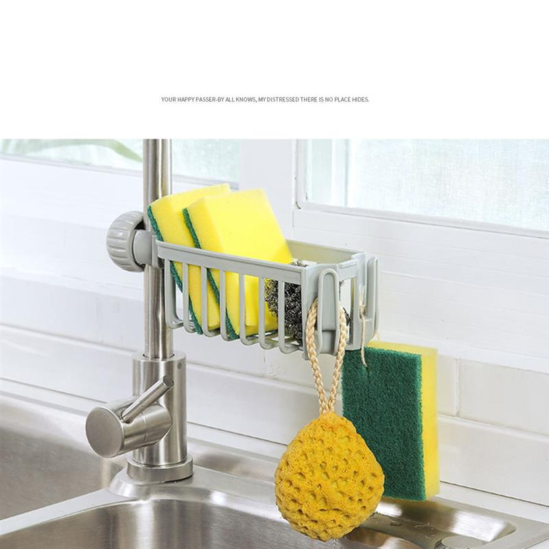 Kitchen Sink Faucet Sink Storage Rack Sponge Holder Dish Drain Soap Brush Organizer Kitchen Towel Rack Kitchen Storage