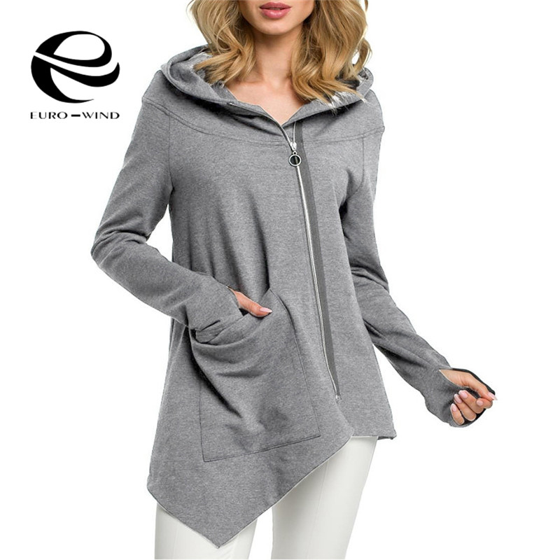 Plus Size S-3XL 2019 Autumn Women Solid Color Hooded Coat Windbreaker Female Zipper Windproof Outerwear   Basic     Jacket   Coat Tops