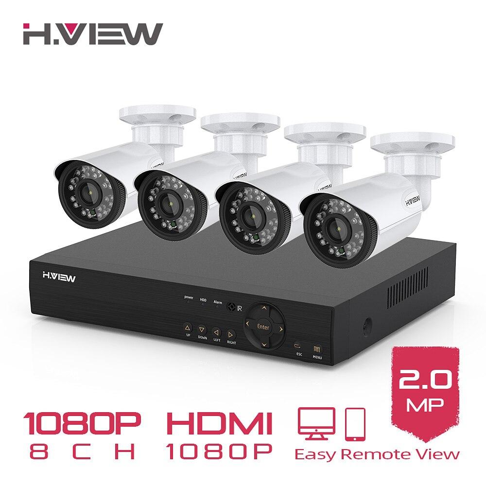 H. VIEW 8CH 1080P Kit de vidéosurveillance caméra Surveillance vidéo caméra de vidéosurveillance extérieure Kit de système de sécurité système de vidéosurveillance pour la maison