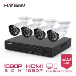 H. VIEW 8CH 1080P Kit de videovigilancia cámara de Video vigilancia al aire libre CCTV Cámara Kit de sistema de seguridad CCTV Sistema para el hogar