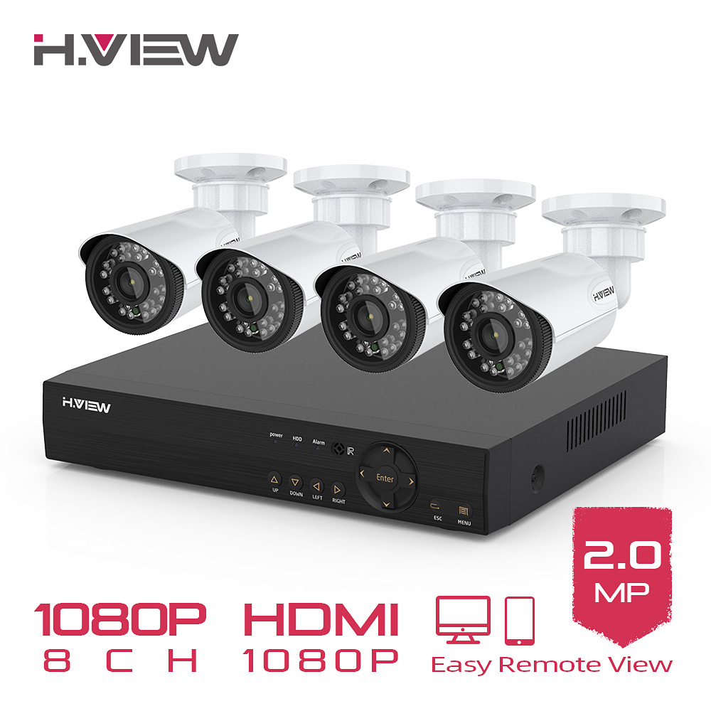 H VIEW 8CH 1080P Video Surveillance Kit Camera Video Surveillance Outdoor CCTV Camera Security System Kit CCTV System for Home