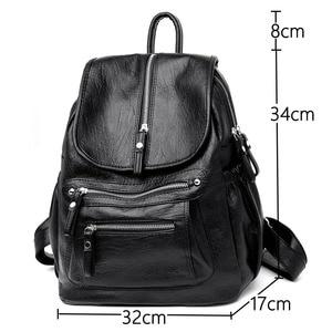 Image 4 - Women High quality leather Backpacks Vintage Female Shoulder Bag Sac a Dos Travel Ladies Bagpack Mochilas School Bags For Girls