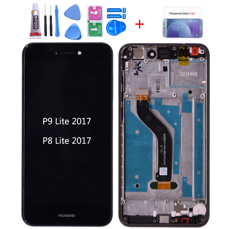 <font><b>Original</b></font> For Huawei P8 lite 2017 PRA-LA LCD <font><b>Display</b></font> Touch Screen Digitizer Assembly with frame For Huawei P9 Lite 2017 lcd image
