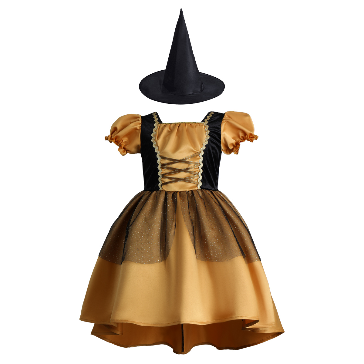 Witch Costumes for Girls Halloween Party Cosplay Clothes Kids Dress with Hat Fashion
