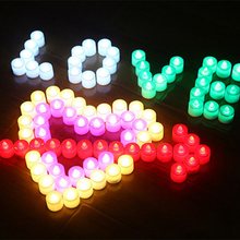 24pcs Led Candle Multicolor Lamp Night Light Candles Battery-Powered Flameless For Birthday Bar Party Wedding festival decor