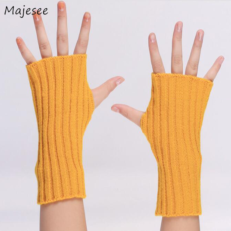 Arm Warmers Women Knitted Winter Warm Comfortable Chic Solid Kawaii Mitt Japanese Style All-match Leisure Trendy Females Daily