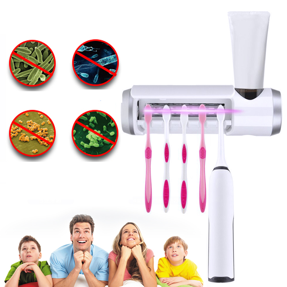 Toothbrush UV Disinfection Box 8 Minutes Disinfection 99.8% Sterilization Effect UV Toothbrush Sterilizer Mounted Holder Wall