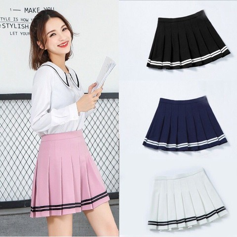 Women high waist Cosplay skirt 2019 Spring summer kawaii Denim solid a-line sailor Skirts Japanese school uniform Mini Skirts Islamabad