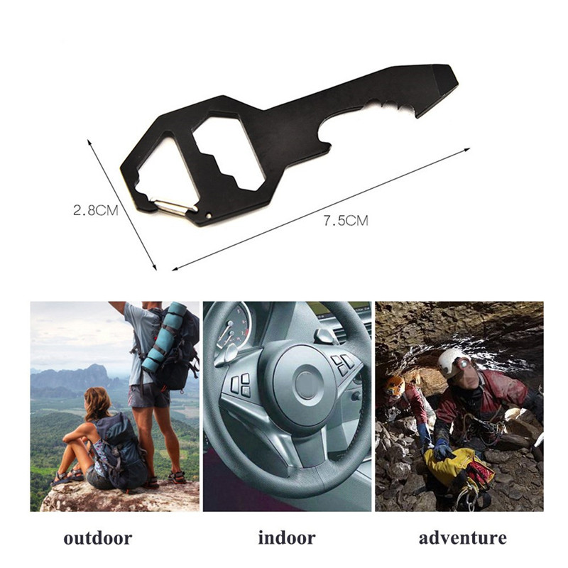 6 In 1 Stainless Steel Outdoor Tools Multifunction EDC Card Tool Carabiner Clip Bottle Opener Keychain Ring Climbing Accessories