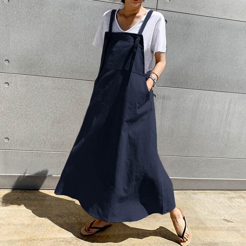 2021 Celmia Summer Linen Long Dress Casual Apron Dress Fashion Women's Sundress Suspender Overalls Maxi Vestidos Robe Plus Size