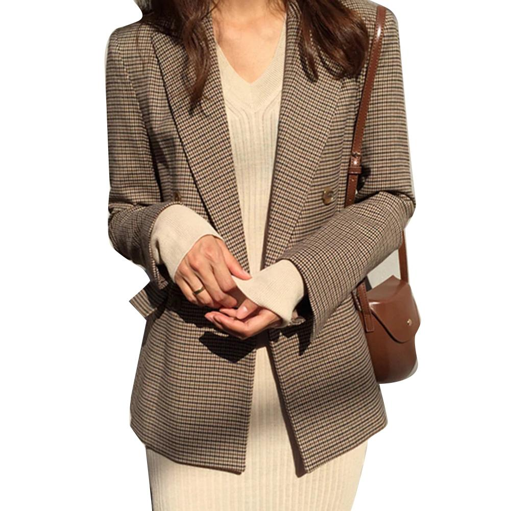 Blazer Vintage Double Breasted Office Ladies Plaid Blazer Long Sleeve Loose Houndstooth Suit Coat Jacket Women blazers Female