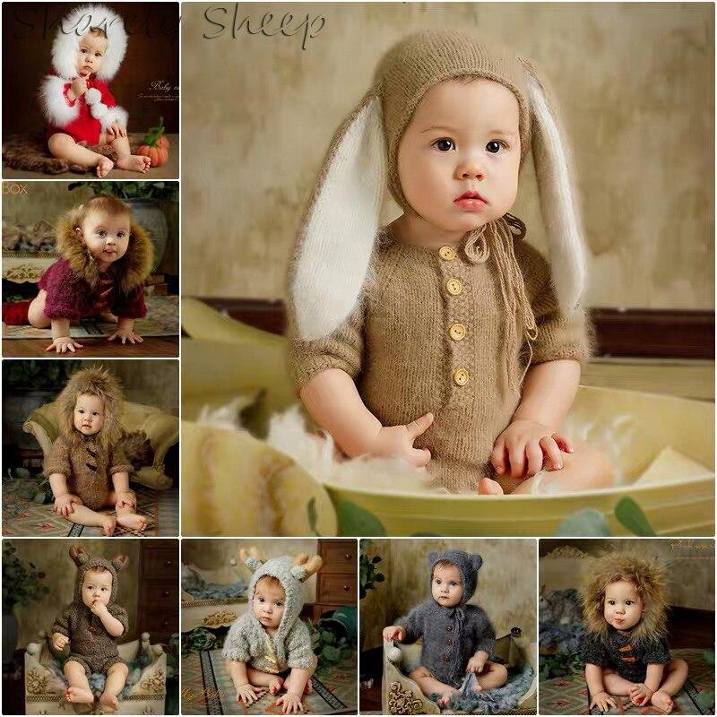 Наряды для фотосессии для маленьких мальчиков и девочек, шапка кролика и кролика + комбинезоны, реквизит для фотосъемки для младенцев, аксессуары для фотосъемки малышей, мультяшный костюм медведя 1