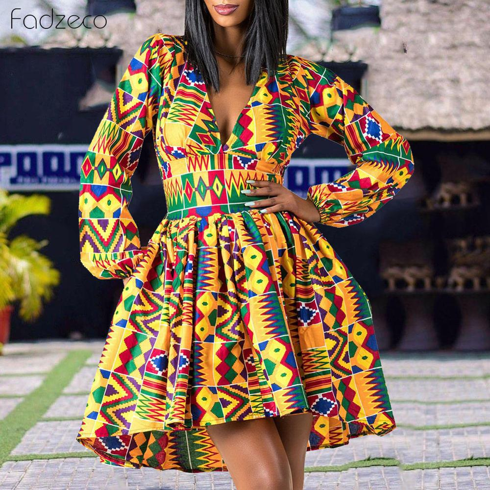 Fadzeco Ladies Clothes African 2019 <font><b>News</b></font> Full Sleeve V-neck Dashiki Full Sleeve Autumn Ankara African Dresses for Women image