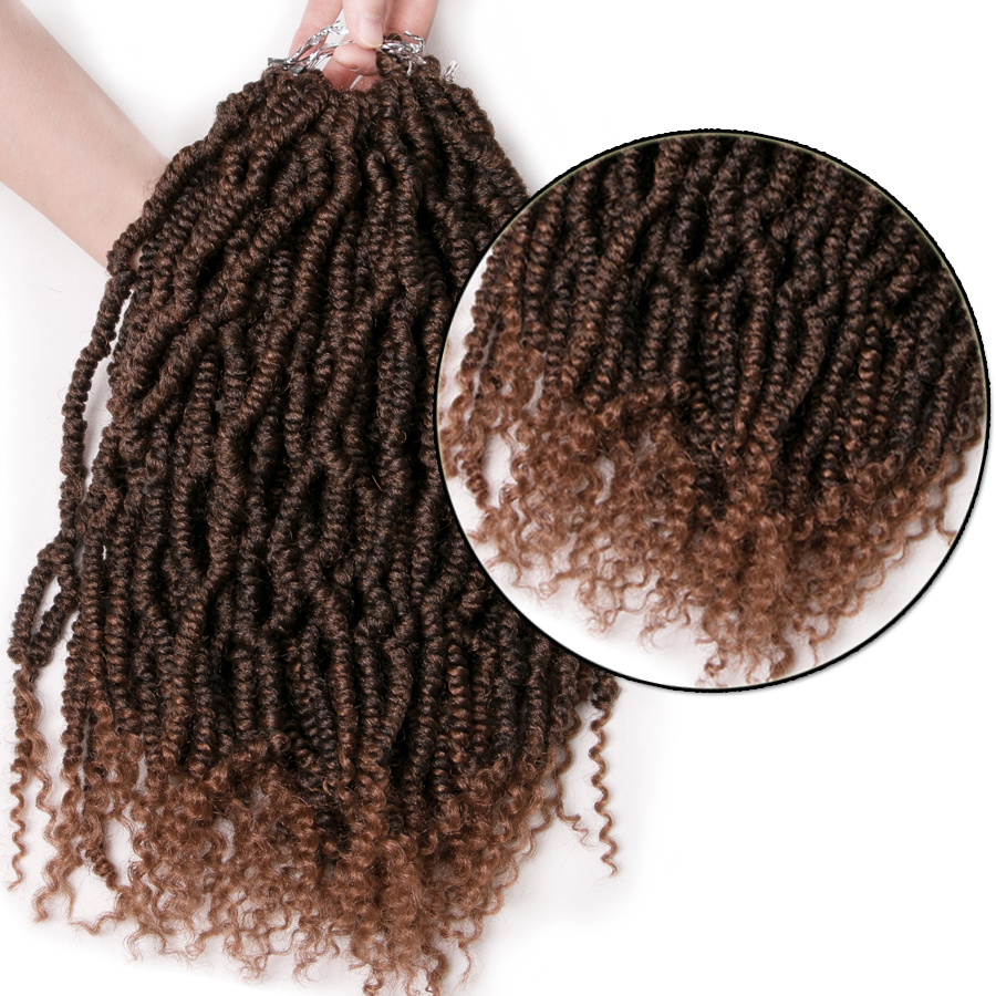 Spring Twist culry kinky Crochet Braid Hair Extensions 12 inch,24 strands/pack Synthetic ombre braiding hair twist Brown,Black