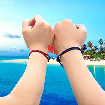 Bracelets en alliage pour couple boule attraction magn tique corde d amiti en acier inoxydable cadeau