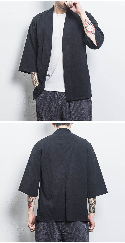 Ha3ad9d14b1304e45a33f873deaab9e89C Drop Shipping Cotton Linen Shirt Jackets Men Chinese Streetwear Kimono Shirt Coat Men Linen Cardigan Jackets Coat Plus Size 5XL