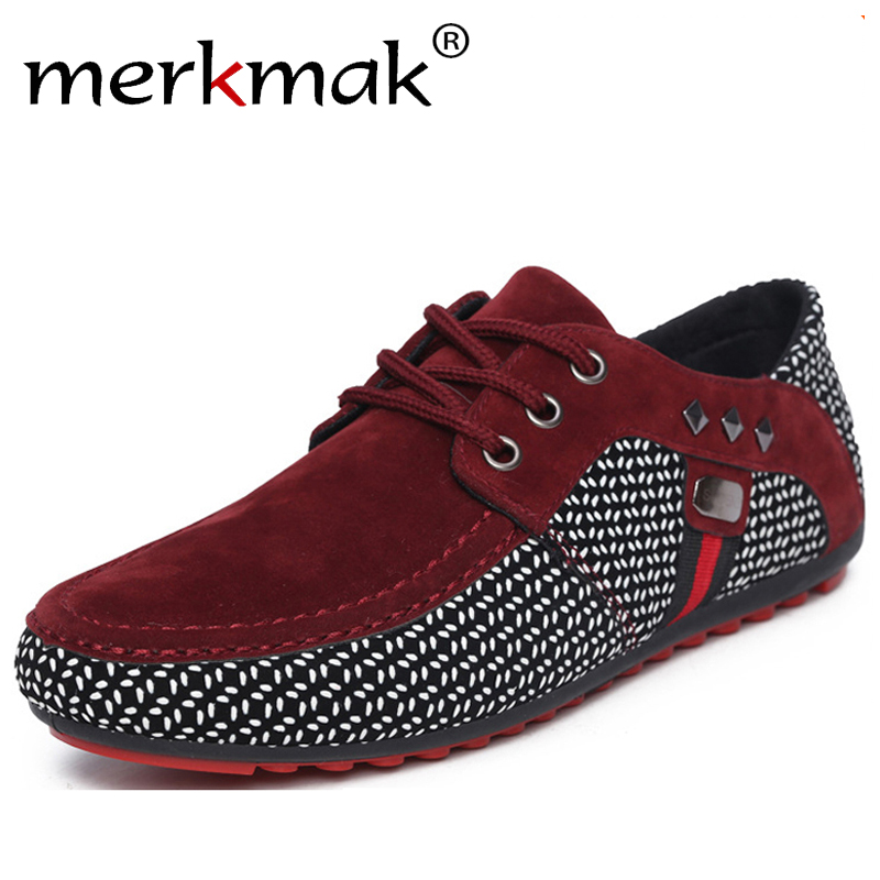 Merkmak New Fashion Men Flats Light Breathable Shoes Shallow Casual Shoes Men Loafers Moccasins Man Sneakers Big Size Boat Shoes