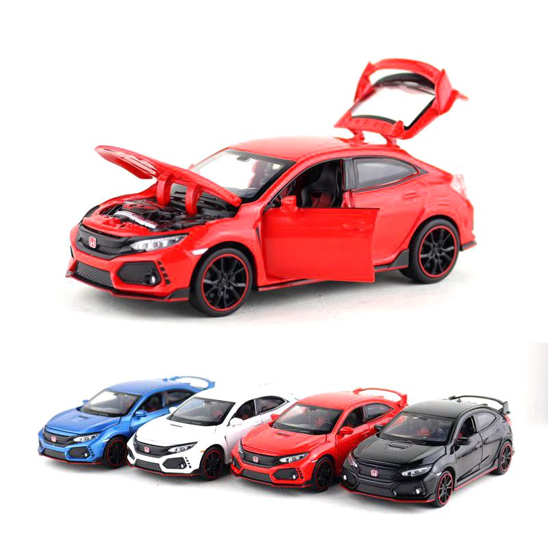 <font><b>1:32</b></font> Scale <font><b>Honda</b></font> Civic Type R Toy Car <font><b>Diecast</b></font> Model Pull Back Doors Openable Sound & Light Educational Collection Gift For Kid image