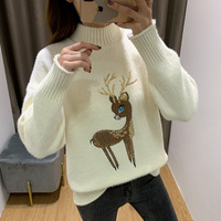 jdy 69 Winter 2019 new Slouchy style Pullover women's sweater loose high collar winter wear thickened knitted sweater