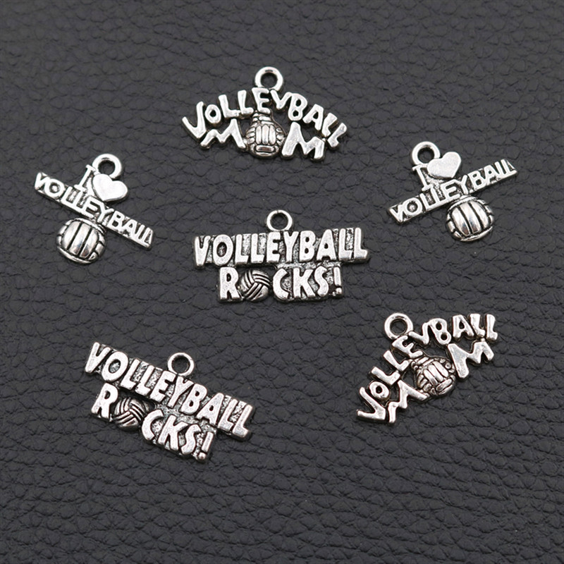 Volleyball Tag Pendant, Mom Charms, I love volleyball charm, Rocks Sport Jewelry  15pcs