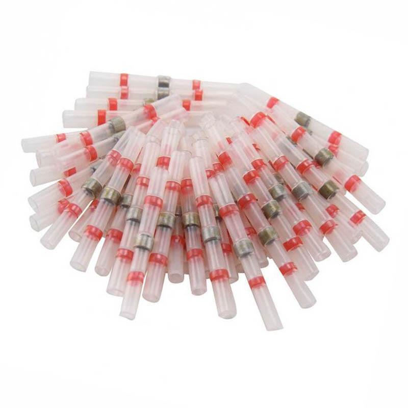 100 sztuk termokurczliwe tuleja lutownicza złącze Splice wodoodporna czerwona 22-18 AWG rurki termokurczliwe tuleja lutownicza Splice Connector