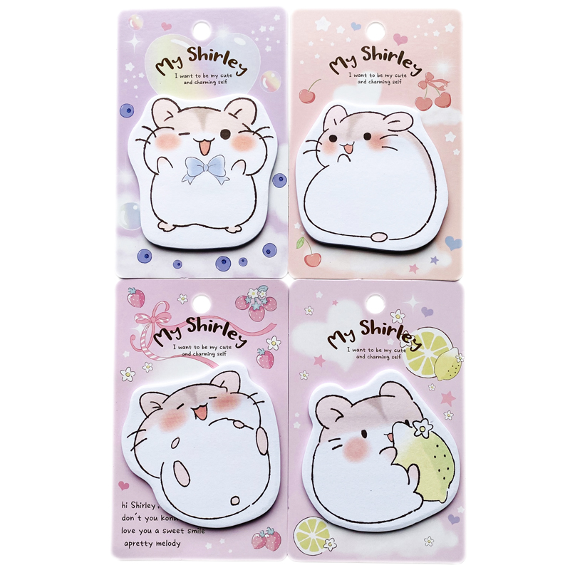 20 Sheets Cute My Shirley Hamster & Fruit Memo Pad Message Sticky Notes Student Stationery School Office Supply