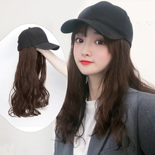 New Baseball Cap with Synthetic Hair Extension Fashion Long Curly Caps Female