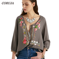 CORUJA Czech Mexican floral embroidery plus size Loose clothing blouse women