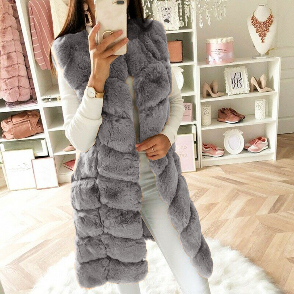 Winter Coat Vest Outwear Gilet Body-Warmer-Jacket Faux-Fur Fashion Women Sleeveless Chaquetas title=
