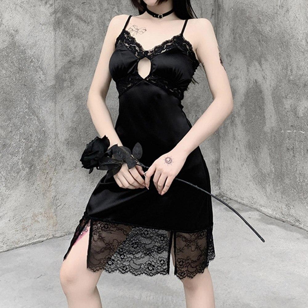 Готическое сексуальное платье с низким вырезом на весну и осень, новое модное хипстерское дизайнерское креативное открытое кружевное плат...