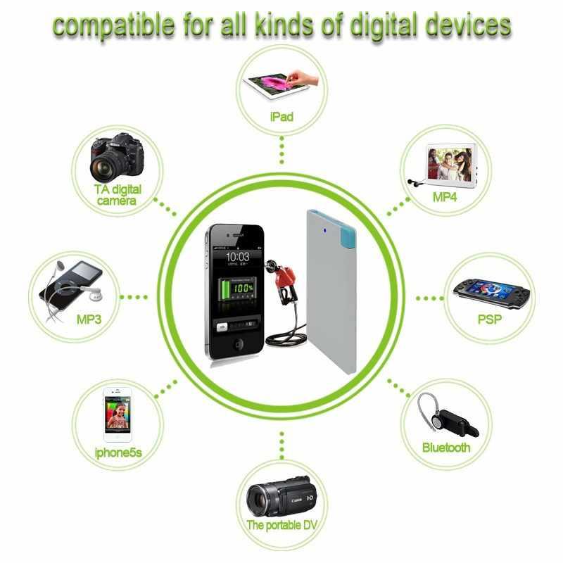 Banco de energía 2 en 1 Ultra delgado, cargador fino portátil de 3000mAh, batería externa de respaldo, Banco portátil con cable incorporado